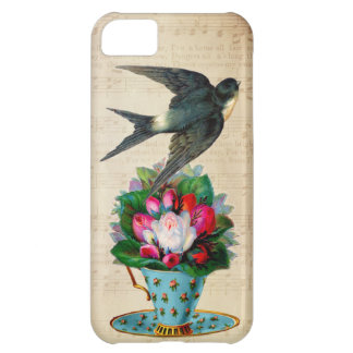 Vintage Teacup Roses and Flying Swallow Bird iPhone 5C Cases