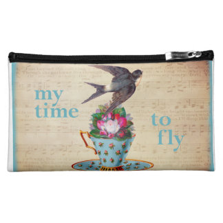 Vintage Teacup Roses and Flying Swallow Bird Cosmetic Bag