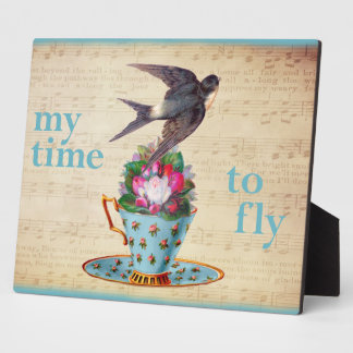 Vintage Teacup Roses and Flying Swallow Bird Display Plaques
