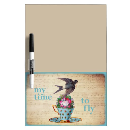 Vintage Teacup Roses and Flying Swallow Bird Dry-Erase Boards