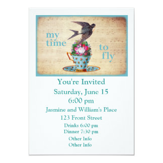 Vintage Teacup Roses and Flying Swallow Bird 5x7 Paper Invitation Card