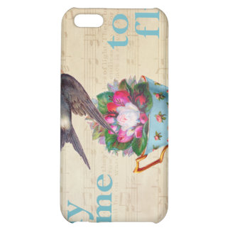 Vintage Teacup Roses and Flying Swallow Bird iPhone 5C Case