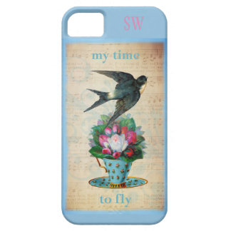 Vintage Teacup Roses and Flying Swallow Bird iPhone SE/5/5s Case