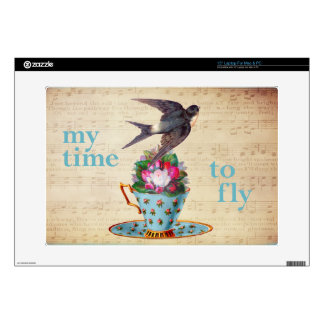 Vintage Teacup Roses and Flying Swallow Bird Laptop Decals