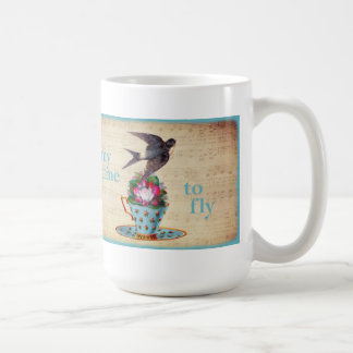 Vintage Teacup Roses and Flying Swallow Bird Classic White Coffee Mug