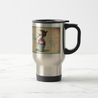 Vintage Teacup Roses and Flying Swallow Bird 15 Oz Stainless Steel Travel Mug