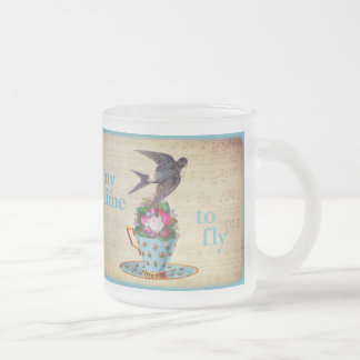 Vintage Teacup Roses and Flying Swallow Bird 10 Oz Frosted Glass Coffee Mug