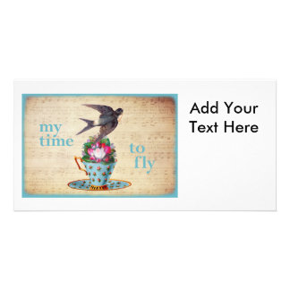 Vintage Teacup Roses and Flying Swallow Bird Photo Card