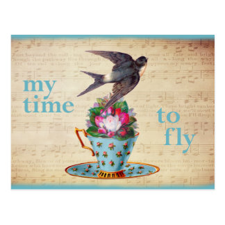Vintage Teacup Roses and Flying Swallow Bird Postcard