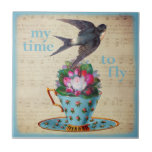 Vintage Teacup Roses and Flying Swallow Bird Small Square Tile