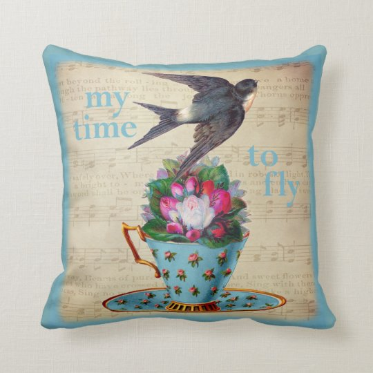 Vintage Teacup Roses and Flying Swallow Bird Throw Pillow
