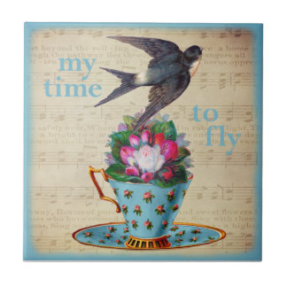 Vintage Teacup Roses and Flying Swallow Bird Ceramic Tile