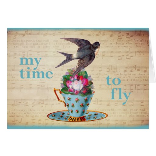 Vintage Teacup, Roses, and Flying Swallow Card