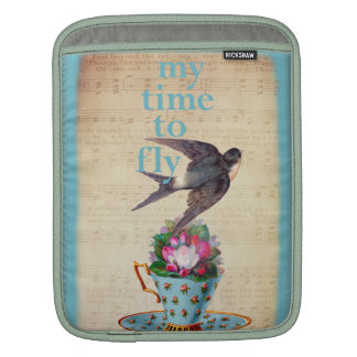 Vintage Teacup, Roses, and Flying Swallow Sleeve For iPads