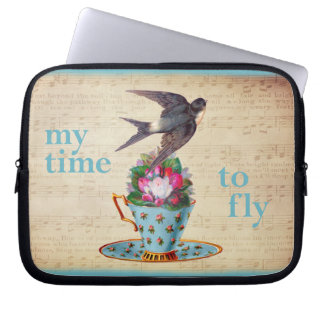 Vintage Teacup, Roses, and Flying Swallow Laptop Computer Sleeves