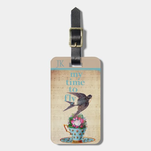 Vintage Teacup, Roses, and Flying Swallow Luggage Tags