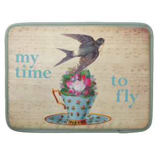 Vintage Teacup, Roses, and Flying Swallow Sleeve For MacBook Pro