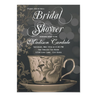 Vintage Teacup Tea Party Bridal Shower Invitations