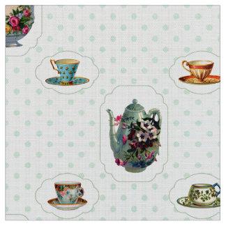 Vintage Teacups and Polka Dots Fabric