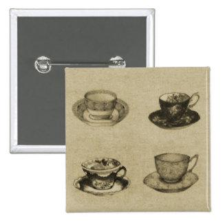 Vintage Teacups Buttons