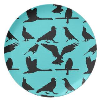Vintage Teal and Black Bird Print Dinner Plate