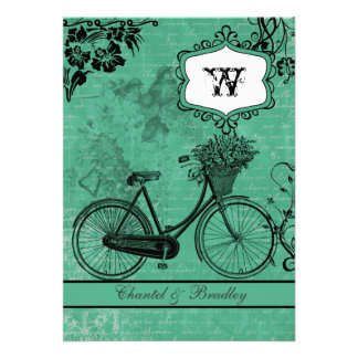 Vintage Teal Bicycle 5x7 Invitation