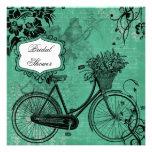Vintage Teal Bicycle Bridal Shower Invitation