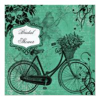 Bicycle bridal shower invitations announcements zazzle vintage teal bicycle bridal shower invitation filmwisefo Choice Image