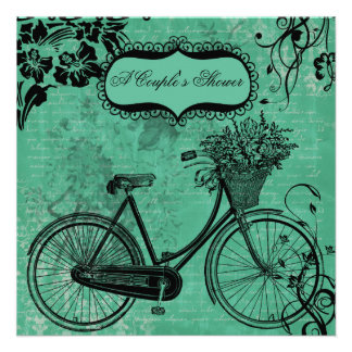 Vintage Teal Bicycle Couple s Shower Invitation