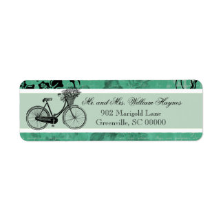 Vintage Teal Bicycle Personalized Address Labels