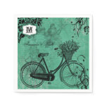 Vintage Teal Bicycle Personalized Paper  Napkins