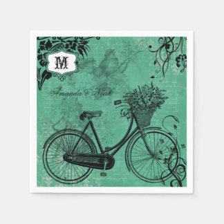 Vintage Teal Bicycle Personalized Paper  Napkins Standard Cocktail Napkin