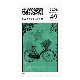 Vintage Teal Bicycle Postage