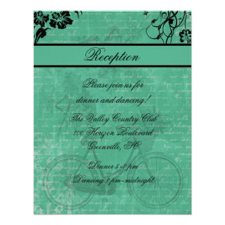 Vintage Teal Bicycle Reception Card Personalized Invitation