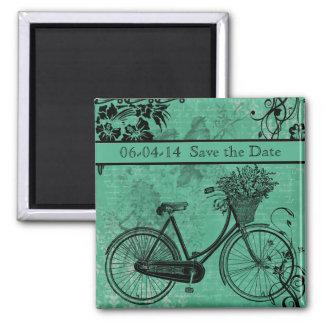 Vintage Teal Bicycle Save the Date Magnet