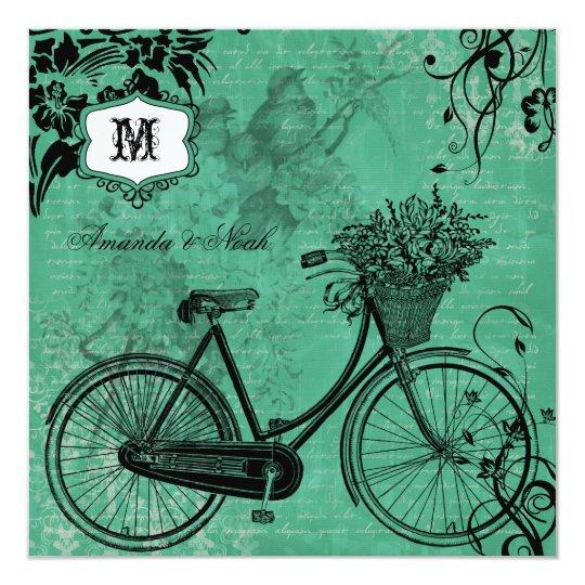 Vintage Teal Bicycle Square Wedding Invitation