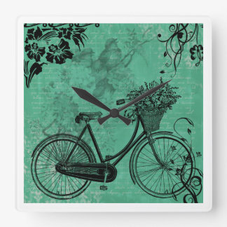 Vintage Teal Bicycle Wall Clock