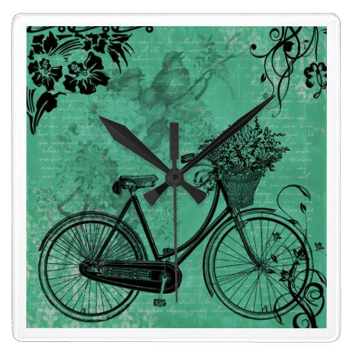 vintage teal bicycle wall clock zazzle