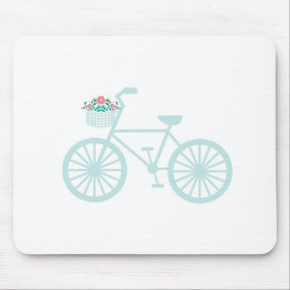 Vintage teal bicycle with pink flowers mouse pad