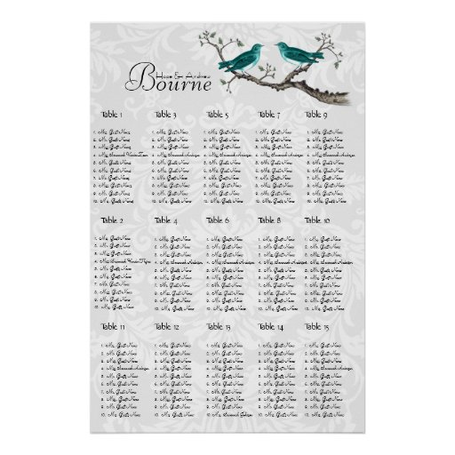 Vintage Teal Bird Seating Chart click customize Poster