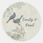 Vintage Teal Bird Wedding Seal Classic Round Sticker