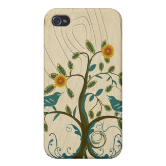 Vintage Teal Birds Branch iPhone Case Case For iPhone 4
