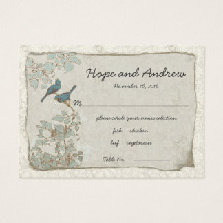 Vintage Teal Birds Place Card with Menu Selection