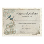 Vintage Teal Birds Place Card with Menu Selection Business Card Templates