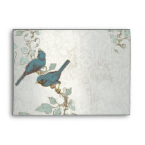 Vintage Teal  Birds Wedding Envelope