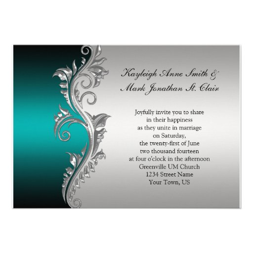 "Vintage Teal Black And Silver Wedding Invitation 5"" X 7"