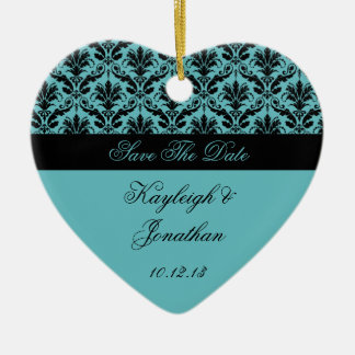 Vintage Teal Black Damask Save The Date Ornament