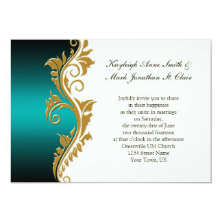 Vintage Teal Black Gold Ivory Wedding Invitation