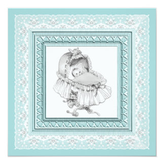 Vintage Teal Blue Baby Shower Custom Invitations