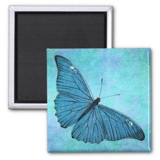 Vintage Teal Blue Butterfly 1800s Illustration 2 Inch Square Magnet